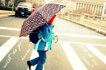 Clara in the rain